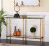 Elenio Bright Gold Leaf Glass Console Table