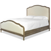 French Oak Camelback Upholstered Panel Bed Frame