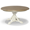 Coastal Beach White Oak Round Dining Room Set for 6
