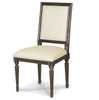 French Brown Oak Vintage Square Louis Dining Chair
