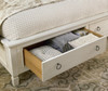 Country-Chic Wood Queen Size White Storage Beds