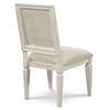 Country-Chic Woven Back Upholstered Kitchen Side Chairs for sale, White Wood