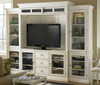 Country-Chic Maple Wood White TV Stand with Bookcases and Hutch