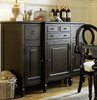 Country-Chic Maple Wood Black Buffet Server Cabinet