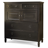 Country-Chic Maple Wood 4 Drawers Tall Dressing Chest - Black