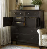 Country-Chic Maple Wood Tallboy Black Chest of Drawers