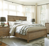 French Modern Hickory Wood Queen Panel Headboard Bed Frame
