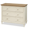 French Modern White Wood 3 Drawers Bedside Chest