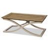 French Modern Light Wood Tray Top Coffee Table