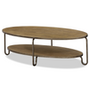 French Modern Wood + Metal Oval Cocktail Table