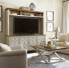 French Modern Wood 4 Door TV entertainment center hutch, White
