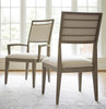 Playlist Vintage Oak Upholstered Dining Arm Chair with nailhead