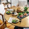 "Aero Tulip Industrial Brass Clad Top Round Dining Table 55"""