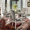 Belgian Country Gray Velvet Upholstered Dining Room Cabriole Arm Chair
