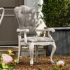 French Gray Velvet Upholstered Dining Room Cabriole Arm Chair