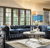 Belgian 3-Cushion Navy Velvet Tufted Chesterfield Sofa