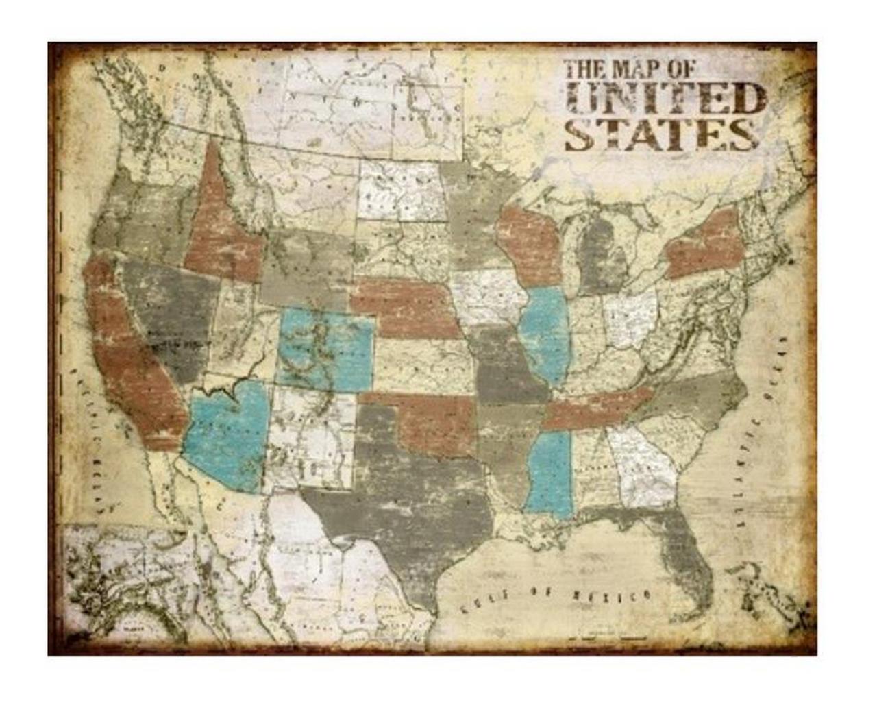 Vintage US Map Zin Home - Vintage us map
