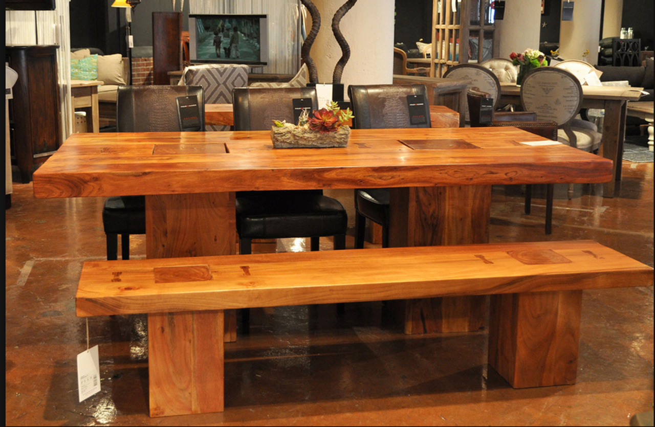 Montana Dining Table 82 Solid Acacia Wood Handmade Dining Table Zin Home