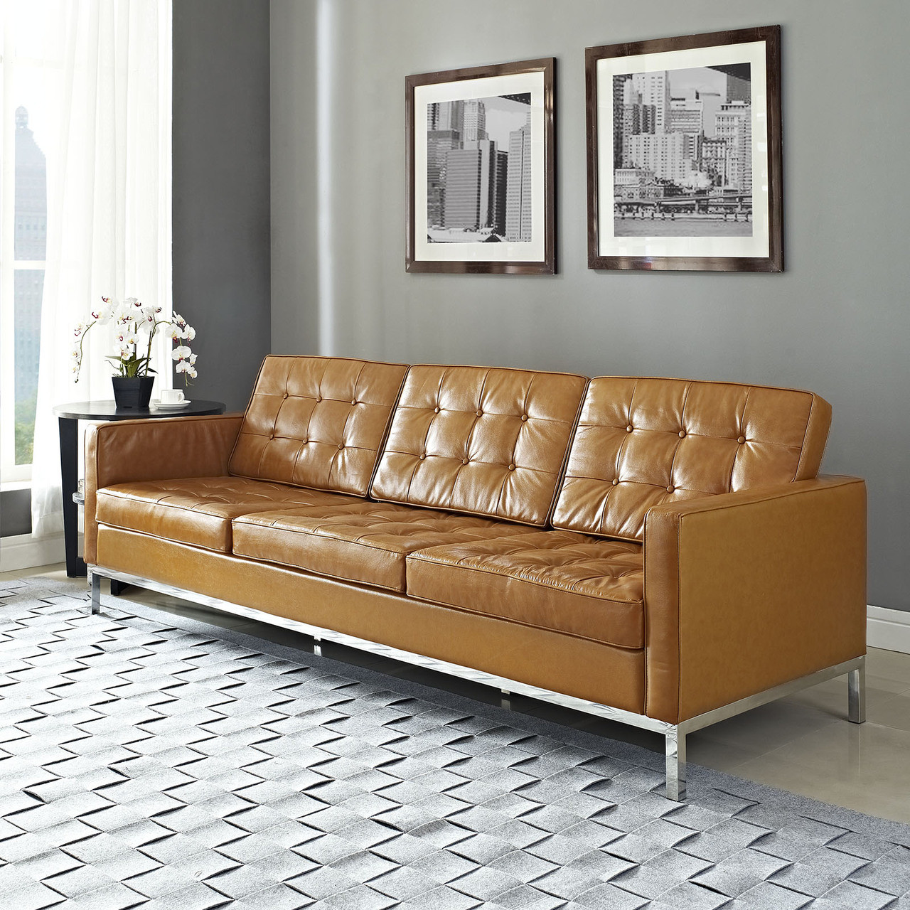 Florence Style Leather Loft Sofa Zin Home