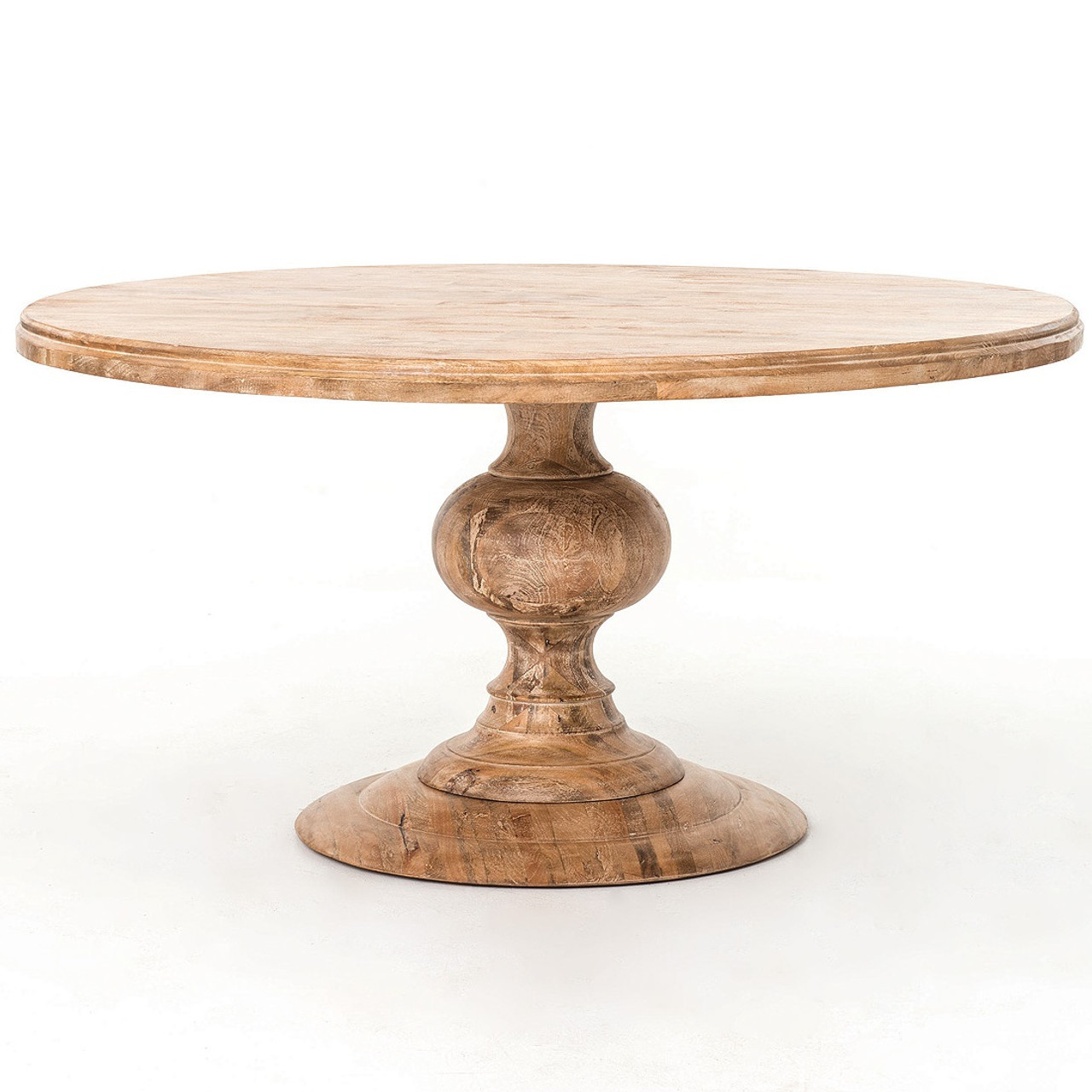 60 Quot Round Pedestal Dining Table In Whitewash Wood Round