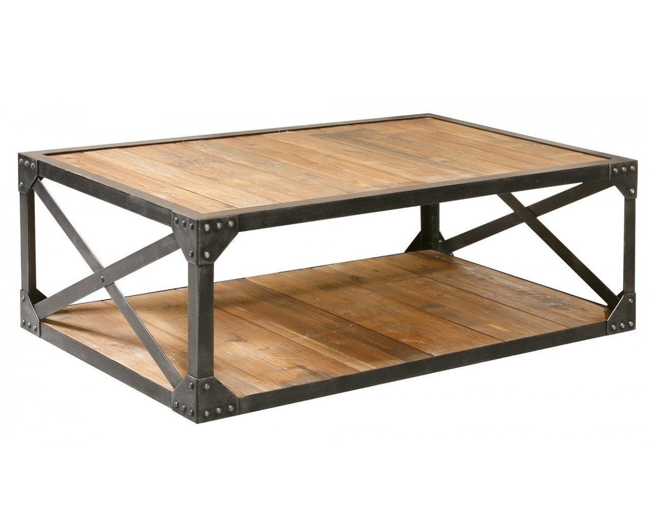 Industrial metal and wood coffee 51 table rectangular for Wire coffee table