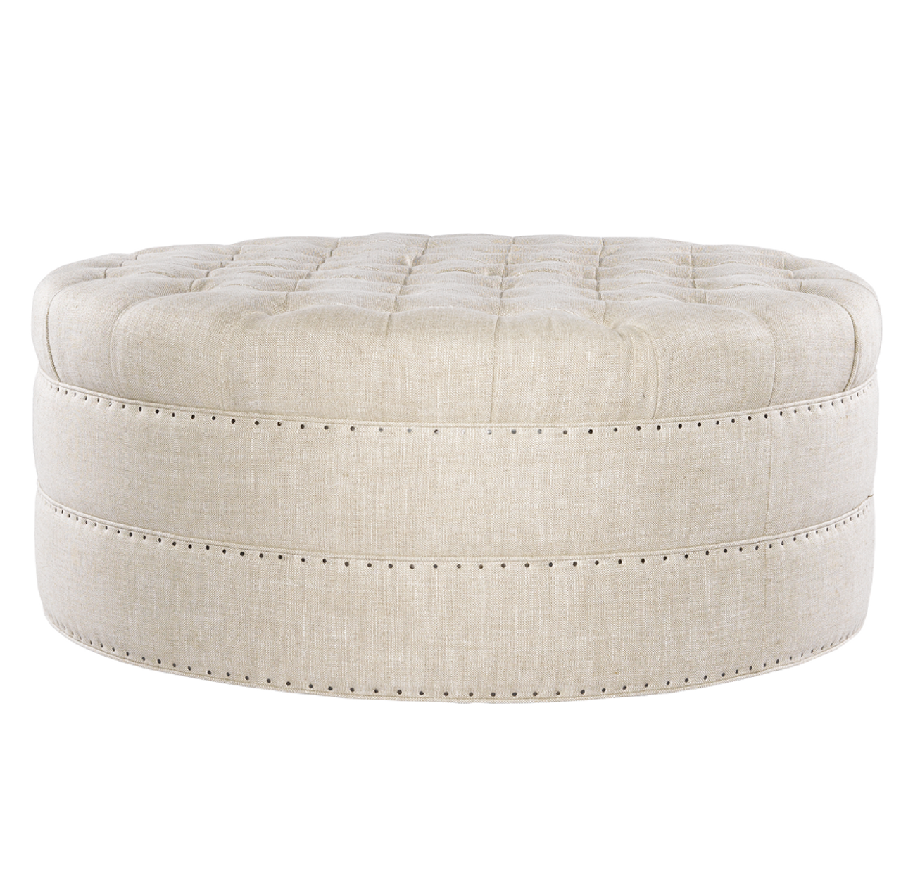 grand linen upholstered round tufted ottoman 42 zin home. Black Bedroom Furniture Sets. Home Design Ideas