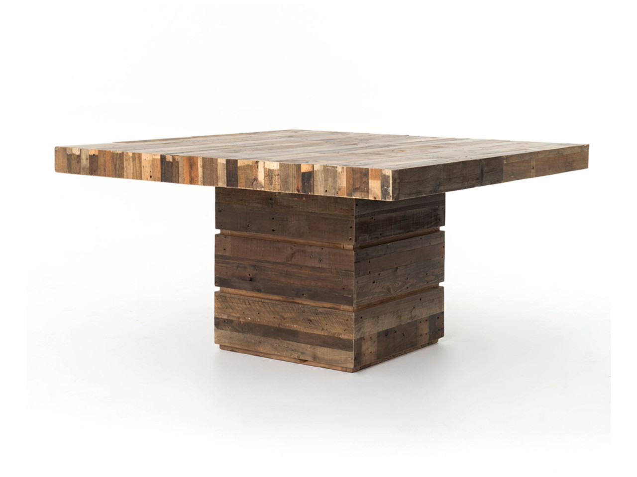 Angora reclaimed wood square dining table zin home for Square dining table