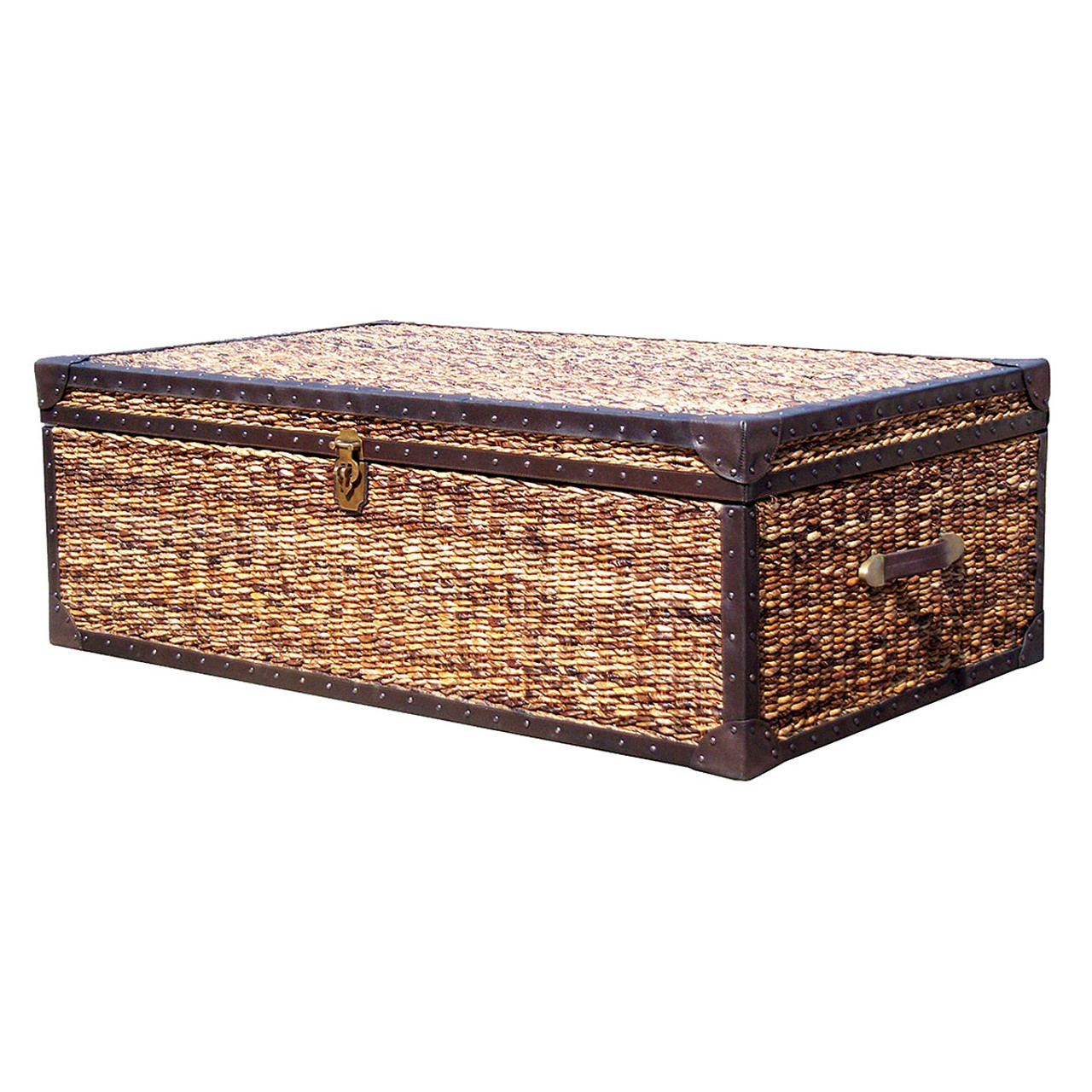 Lanai trunk coffee table 50 x 30 wicker banana leaf woven banana leaf woven trunk coffee table geotapseo Image collections