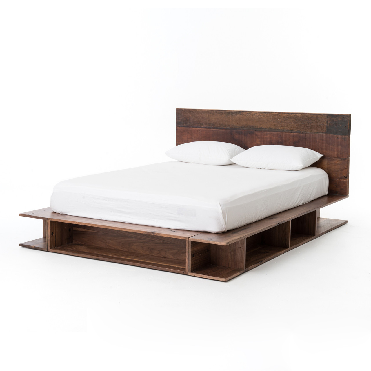 bonnie rustic reclaimed wood king platform bed frame zin home. Black Bedroom Furniture Sets. Home Design Ideas