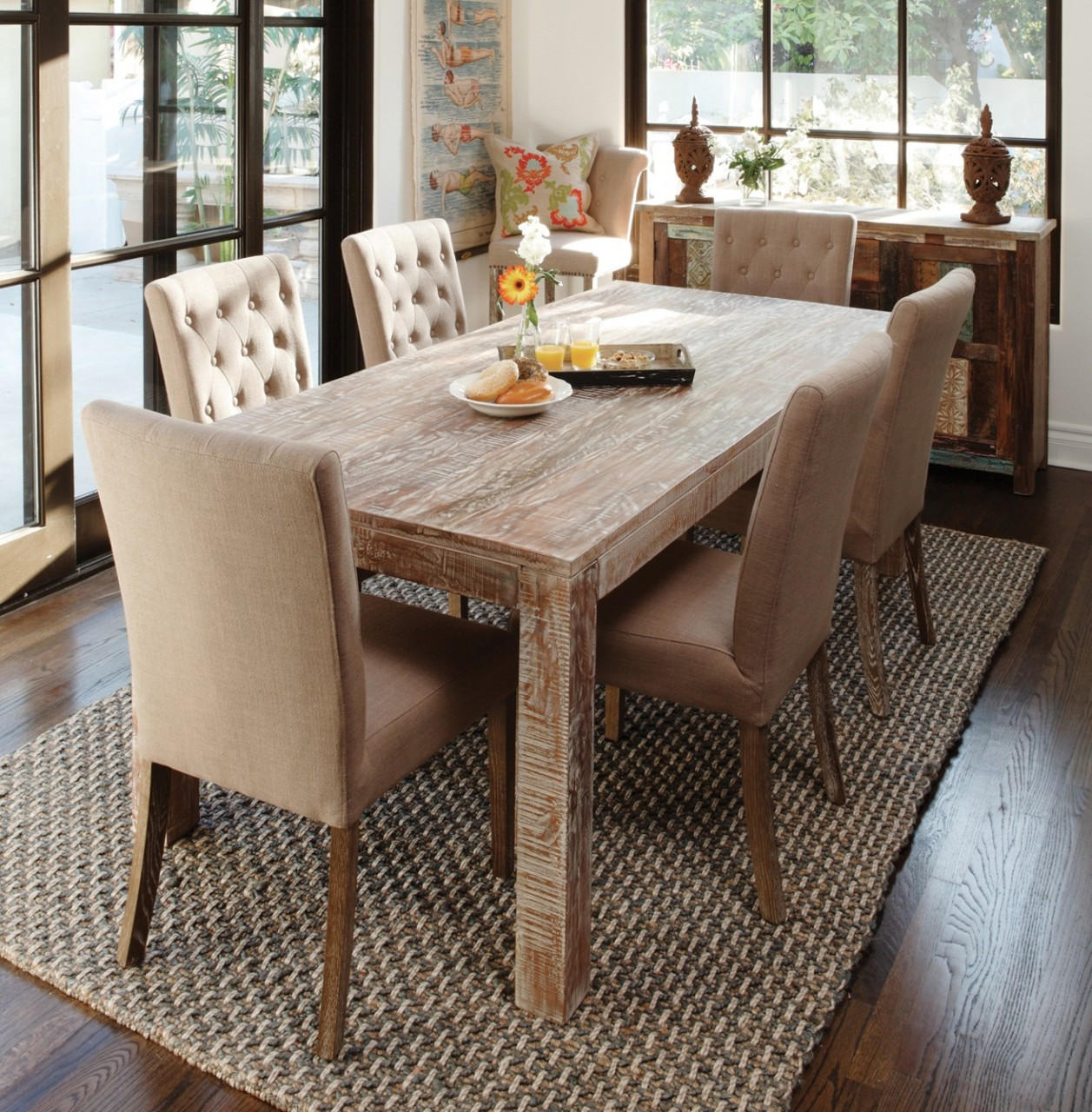 Hampton Teak Wood Farmhouse Dining Room Table 60\