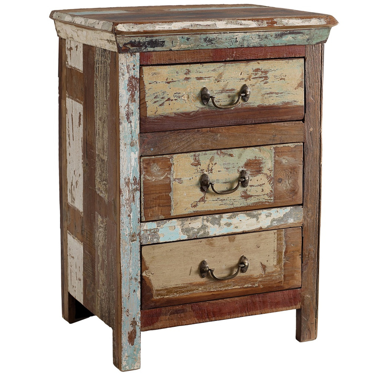Charming Shabby Chic 3 Drawer Side Table