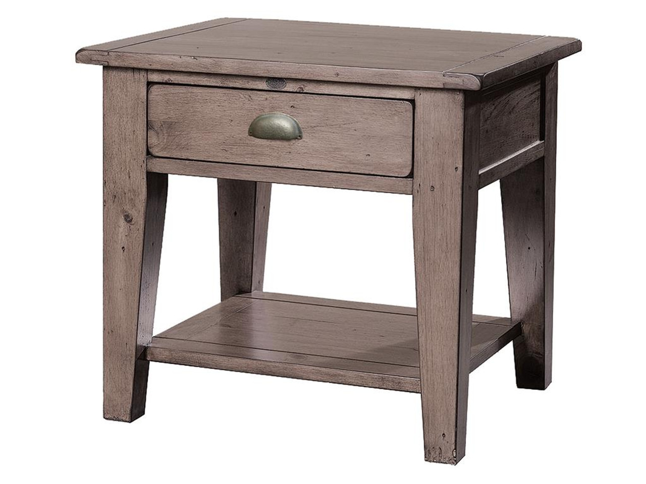 Coastal Solid Wood Rustic Side Table with 1 Drawer