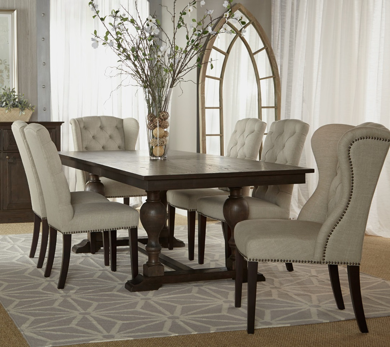 Astor double trestle extension dining table 96 zin home for Table salle a manger sur mesure