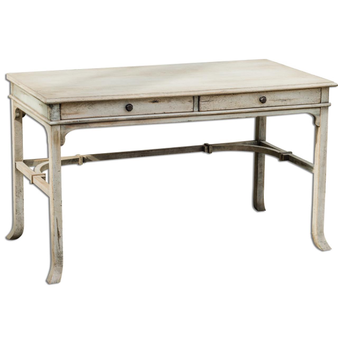 Antiqued White Bridgely Rustic Wood Vintage Writing Desk Zin Home