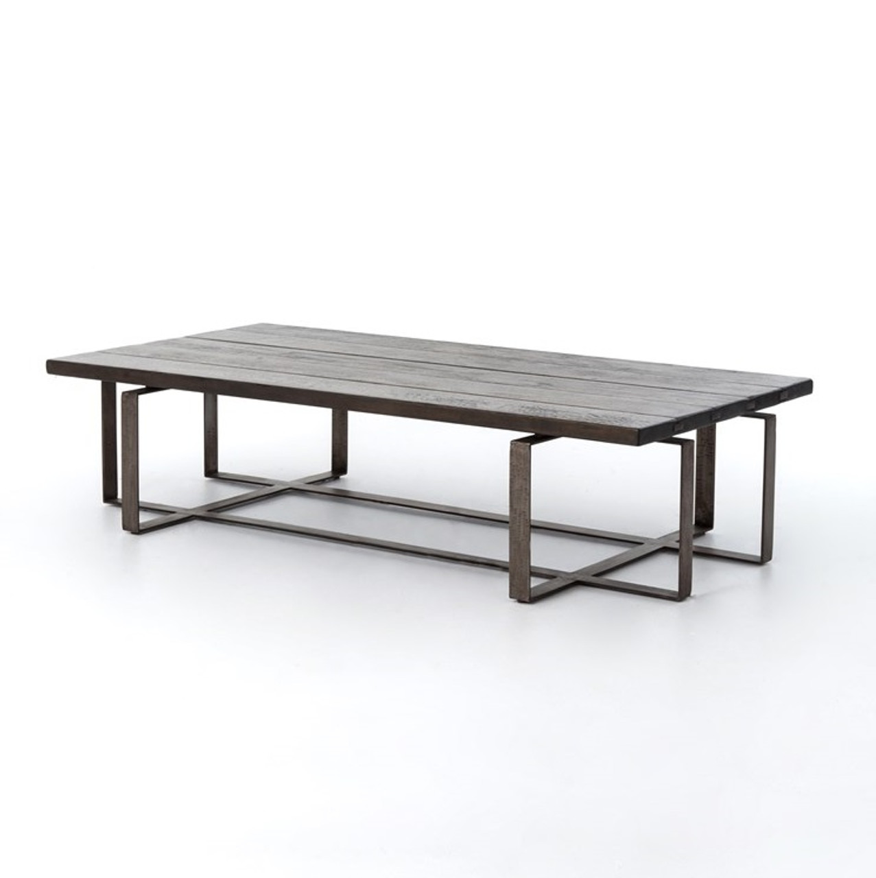 Brant large coffee table with geometric wrought iron base zin home Wrought iron coffee table bases