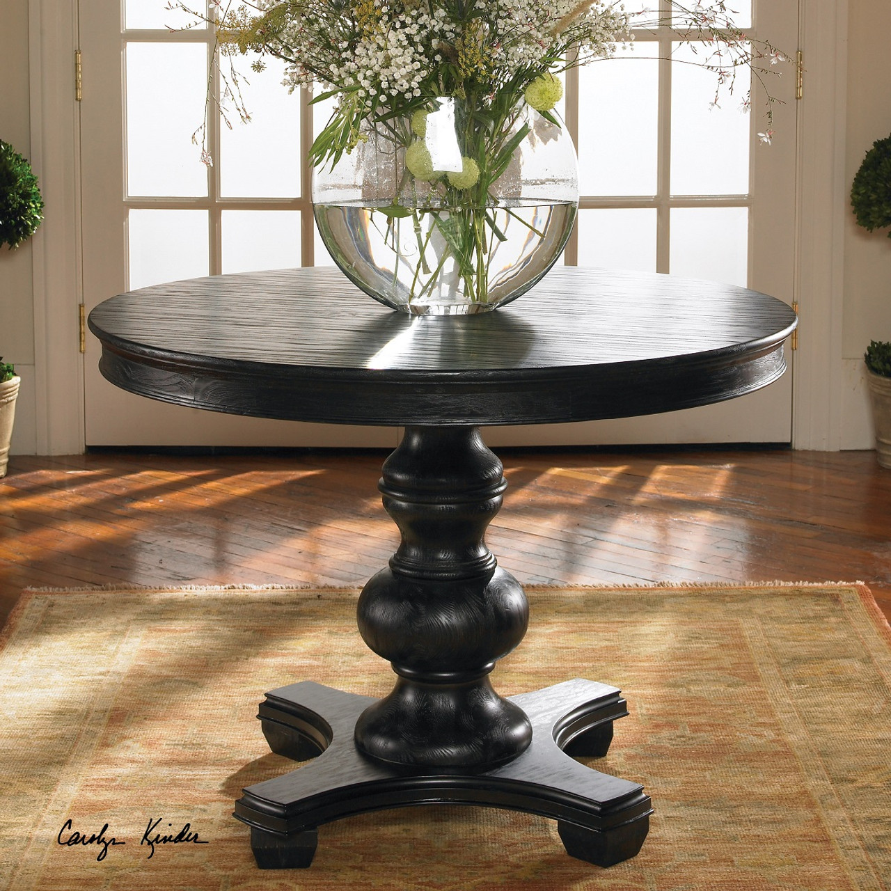 Brynmore black round pedestal table 42 zin home for Black round dining table