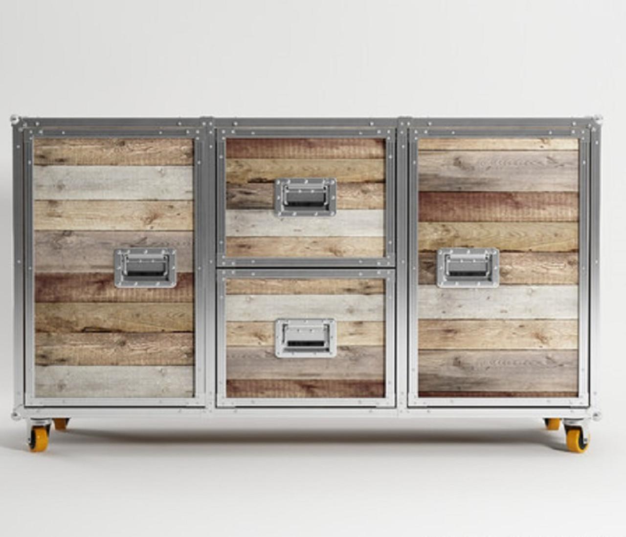 Vintage Industrial Loft Reclaimed Teak Buffet Sideboards