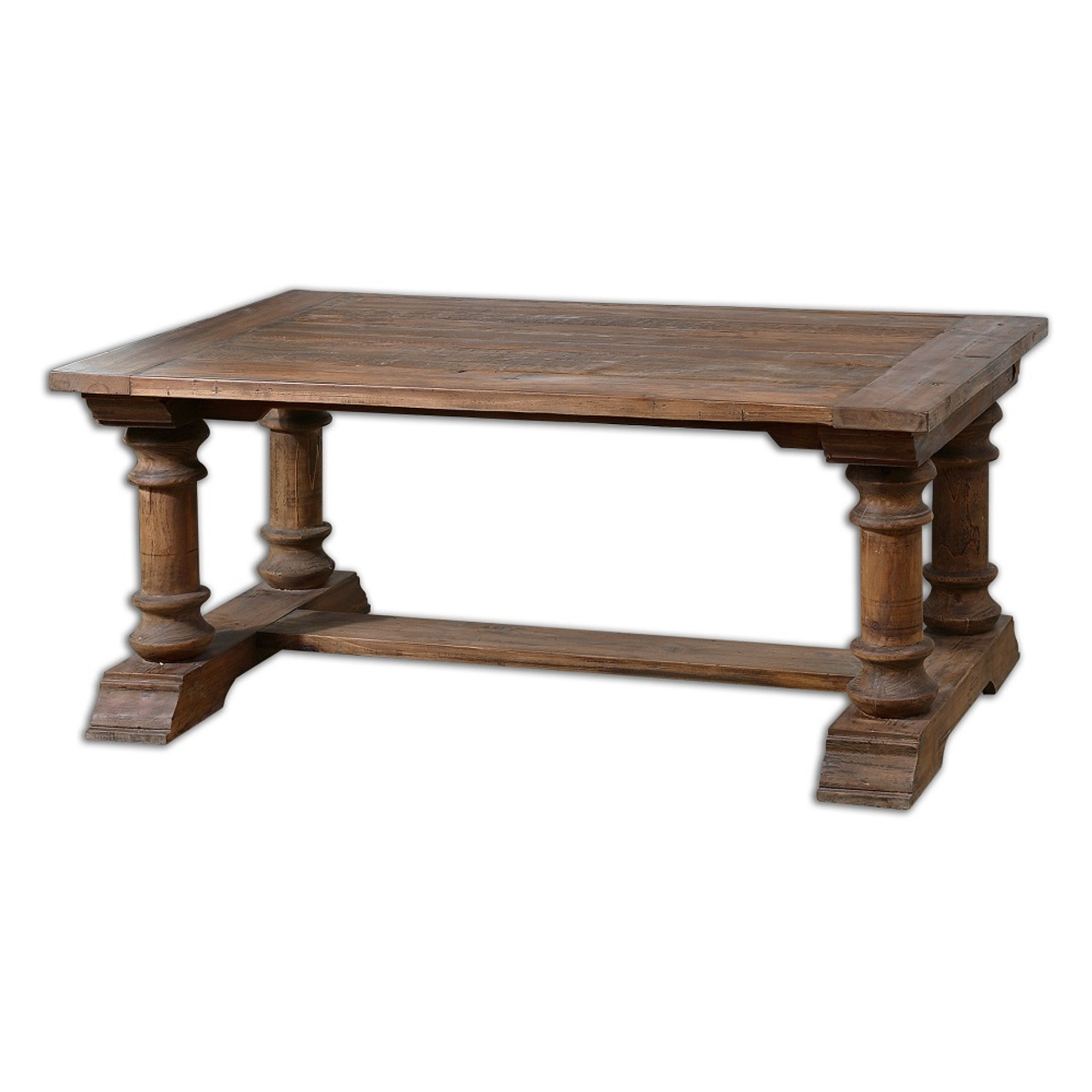 Saturia balustrade reclaimed wood coffee table zin home balustrade salvaged wood coffee table geotapseo Gallery