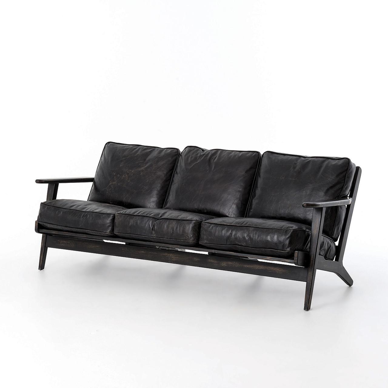 Superior Mid Century Modern Brooks Leather Sofa
