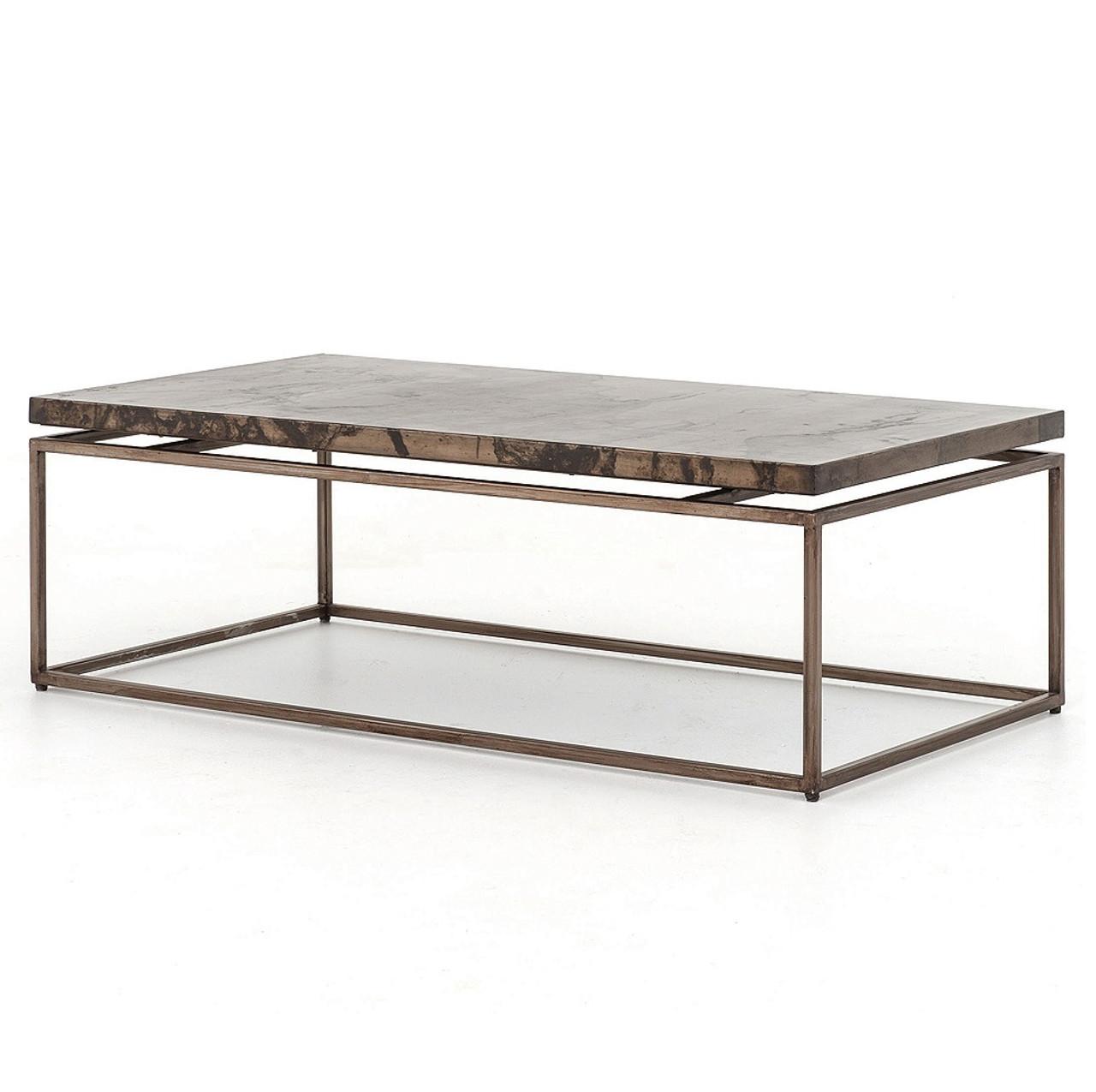 Elegant Roman Box Frame Industrial Iron Coffee Table