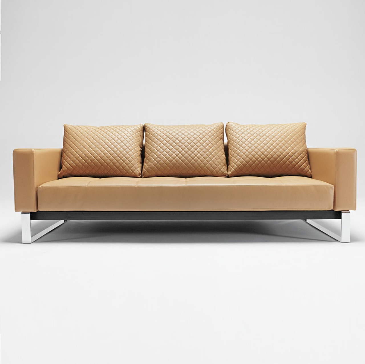 Cassius Q Deluxe Tan Leather Sleeper Sofa Chrome Legs