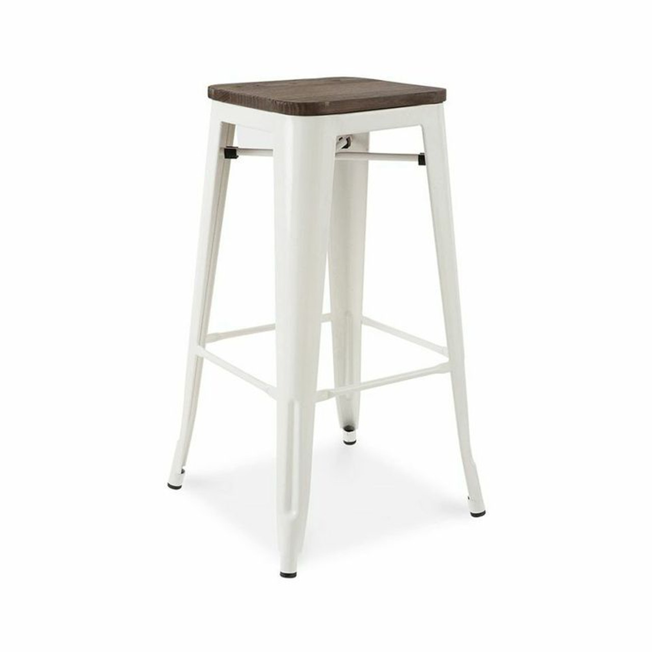French Industrial Wood And Metal Bar Stools Zin Home