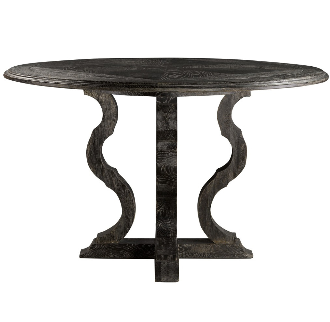Black round pedestal dining table - French Antique Black Round Pedestal Dining Table 50