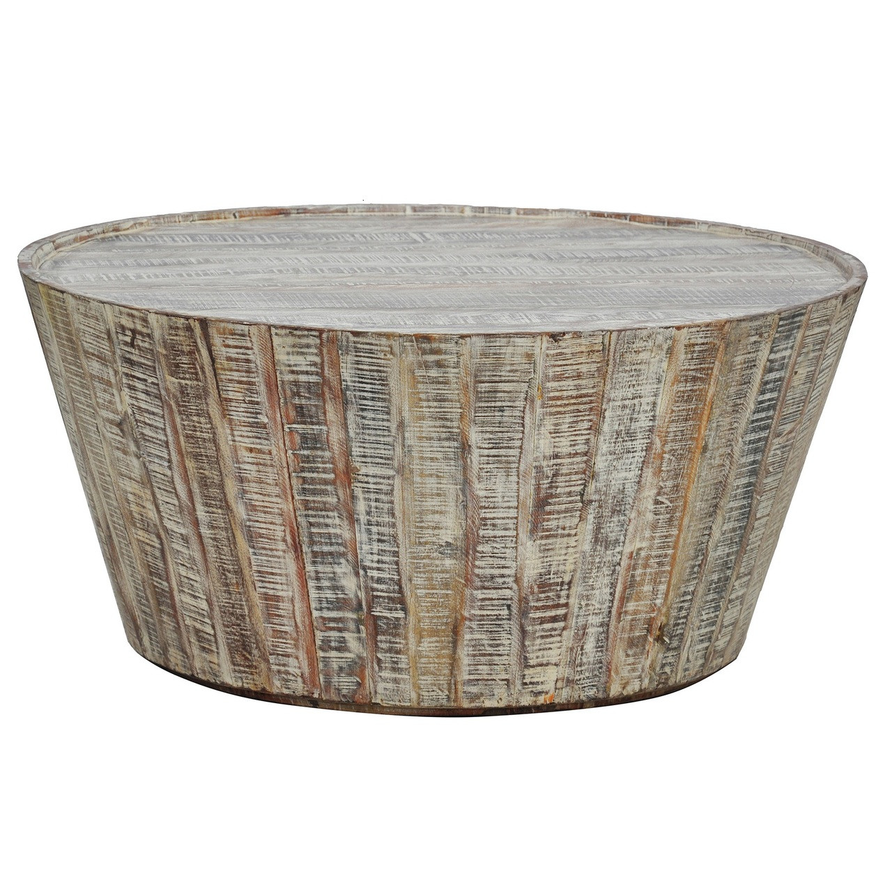 Hampton rustic wood round barrel coffee table 38 zin home hampton rustic wood round barrel coffee table 38 geotapseo Images