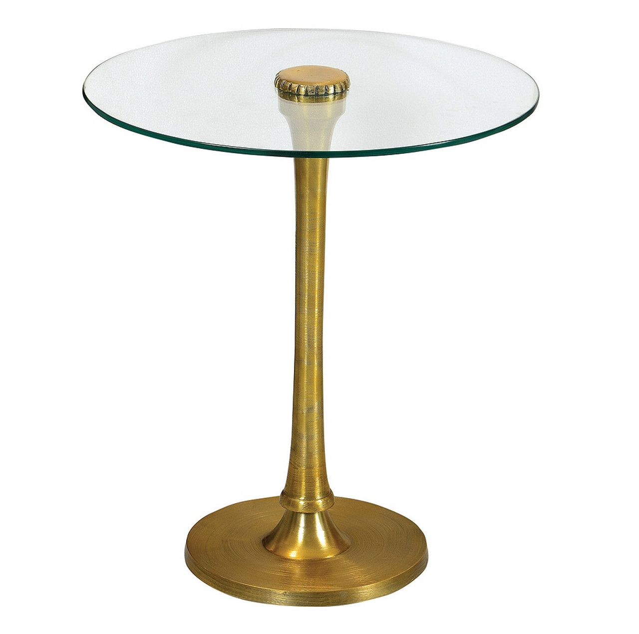 Marlow Mani Brass And Glass Top Side Table