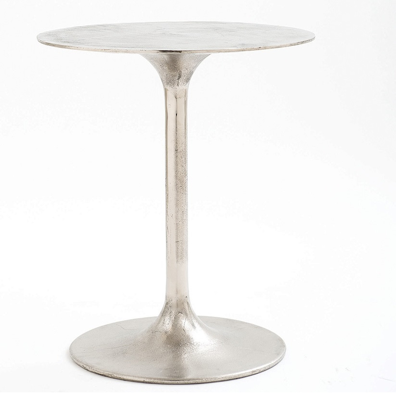 Tulip Raw Nickel Round Side Table Zin Home