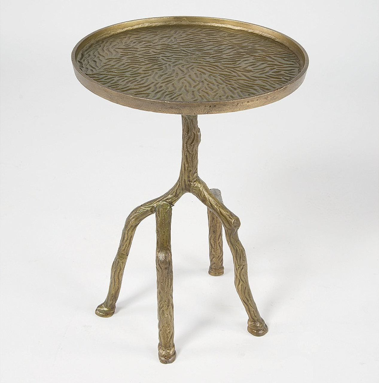 Delightful Marlow Tree Branch Side Table Raw Bronze