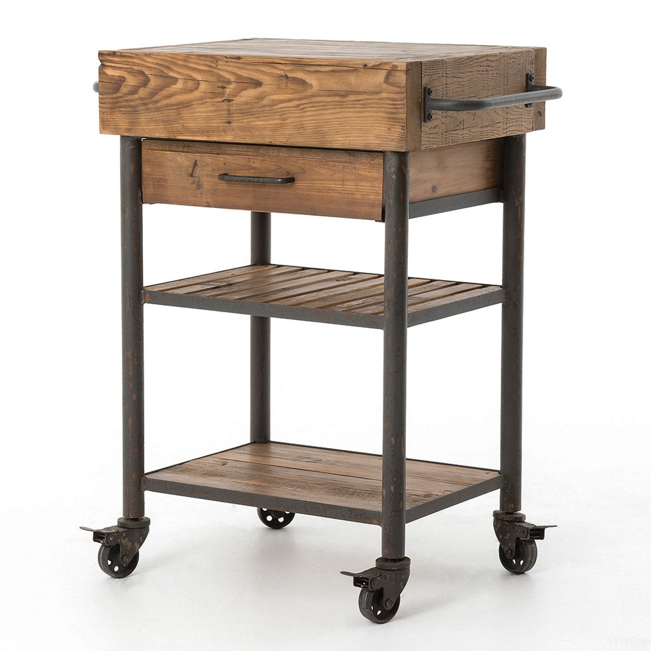 Vintage Kitchen Island Industrial Moving Rolling Cart: Industrial Reclaimed Wood Rolling Kitchen Island Cart