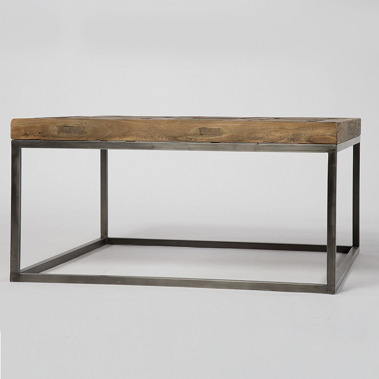 Mosaic reclaimed wood and metal square bunching table zin home metal and wood coffee table geotapseo Images