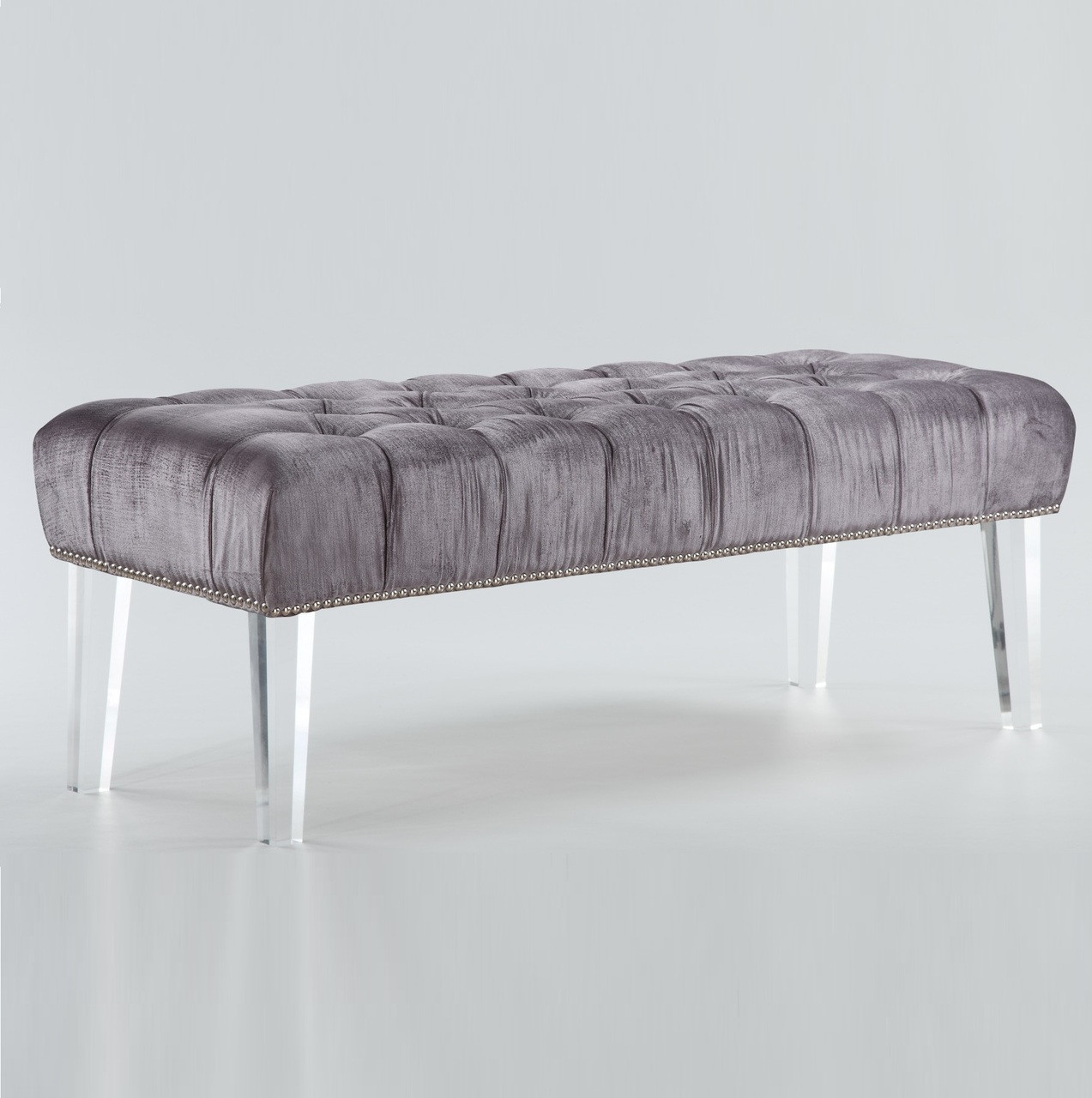 stella grey velvet tufted acrylic bed end bench zin home. Black Bedroom Furniture Sets. Home Design Ideas